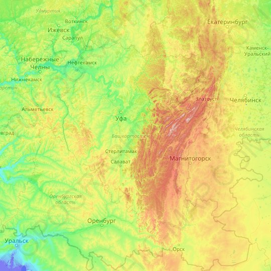 Bashkortostan topographic map, relief map, elevations map