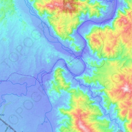 Magat River topographic map, elevation, relief