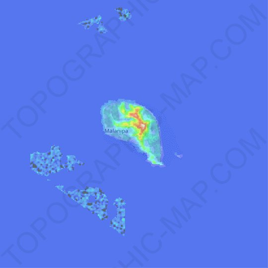 Malanipa Island topographic map, relief map, elevations map