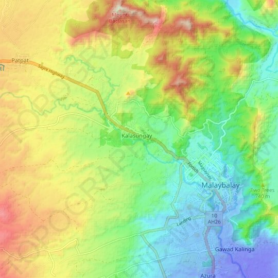 Sawaga River topographic map, relief map, elevations map