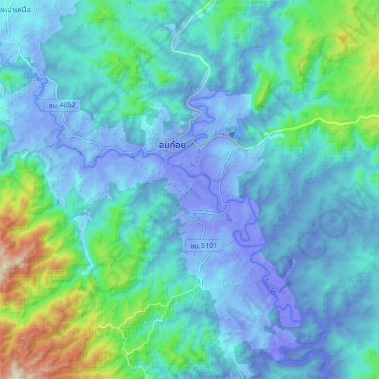 Ban Luang topographic map, elevation, relief
