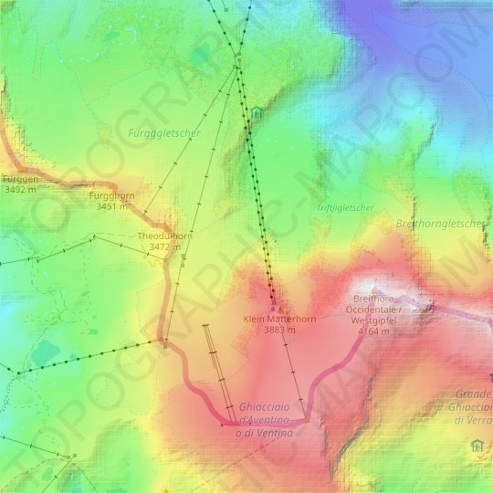Theodulgletscher topographic map, relief map, elevations map