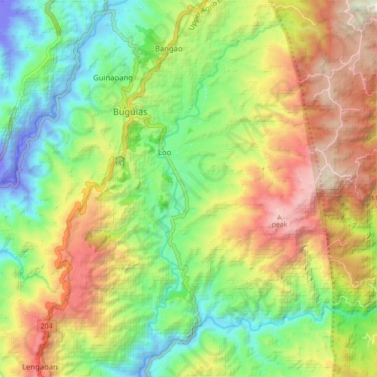 Agno River topographic map, elevation, relief