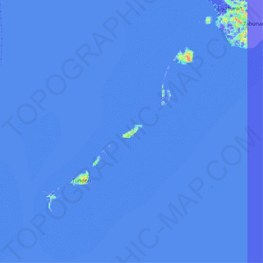 Tinunducan Island topographic map, relief map, elevations map