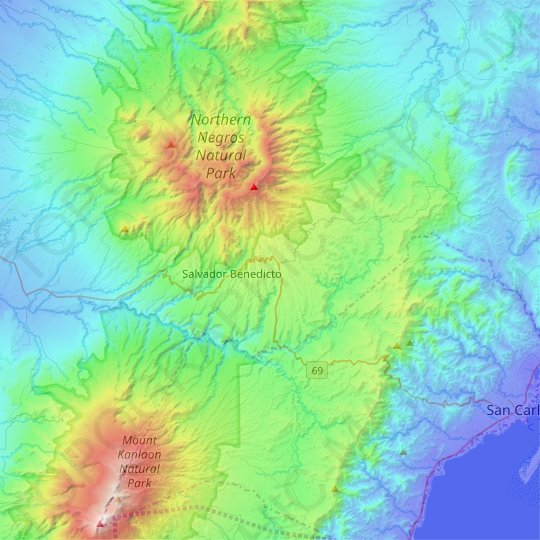 Don Salvador Benedicto topographic map, elevation, relief